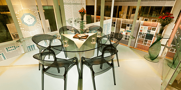 Elegant lacquered glass furniture