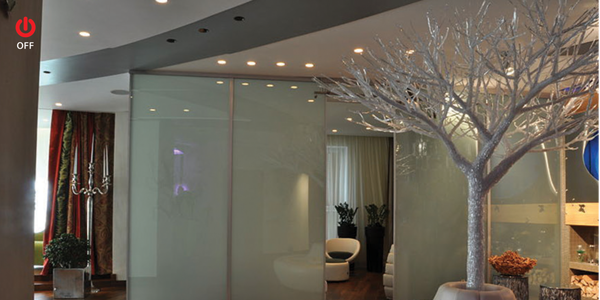 Glass partition with smart glass